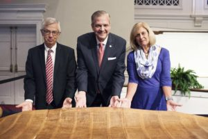 SBTS President R. Albert Mohler Jr. (center) with Ken and Barbara Larson, who donated a 500-year-old Torah scroll.