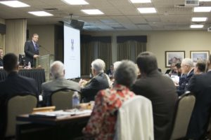 Southern Seminary President R. Albert Mohler Jr. addresses trustees at the board's Oct. 10 plenary session.