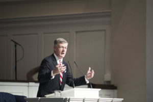 Steve Lawson, president of OnePassion Ministries, preaches during the 2016 Mullins Lectures.