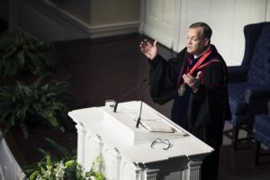 Southern Seminary President R. Albert Mohler Jr. delivers the spring convocation message Feb. 7 in Alumni Memorial Chapel.