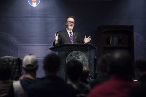 Rod Dreher, senior editor of 'The American Conservative' and author of 'The Benedict Option,' lectures during the SBTS Gheens Lectures, Feb. 7-8.