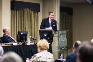 Southern Seminary President R. Albert Mohler Jr. speaks at the plenary session of the Board of Trustees, April 10.