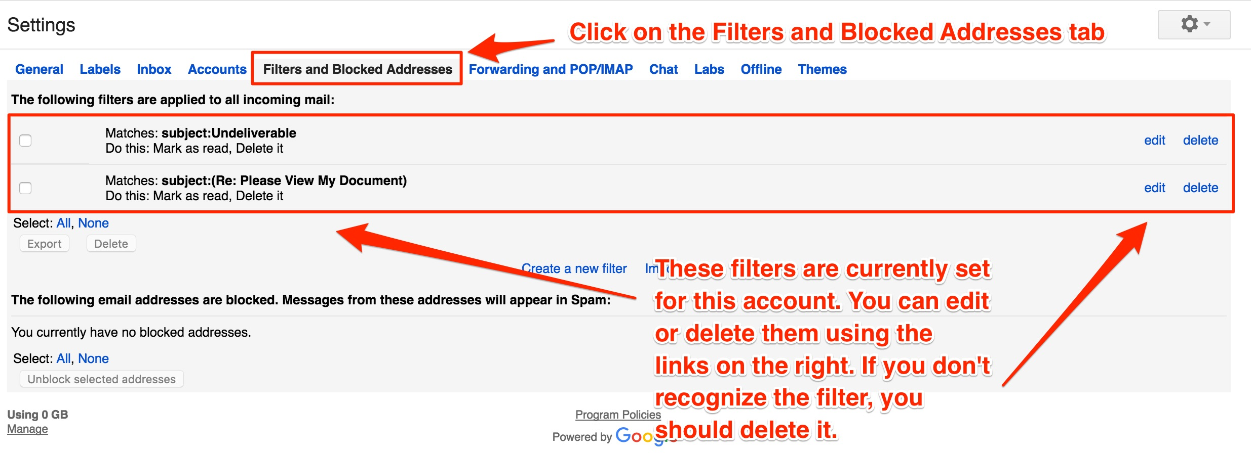 Filters And Blocked Addresses