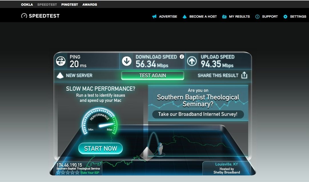 speedtest.net results