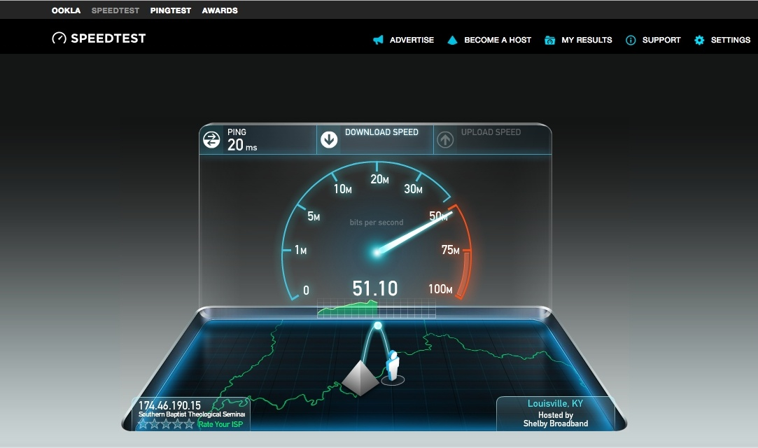 speedtest.net test running