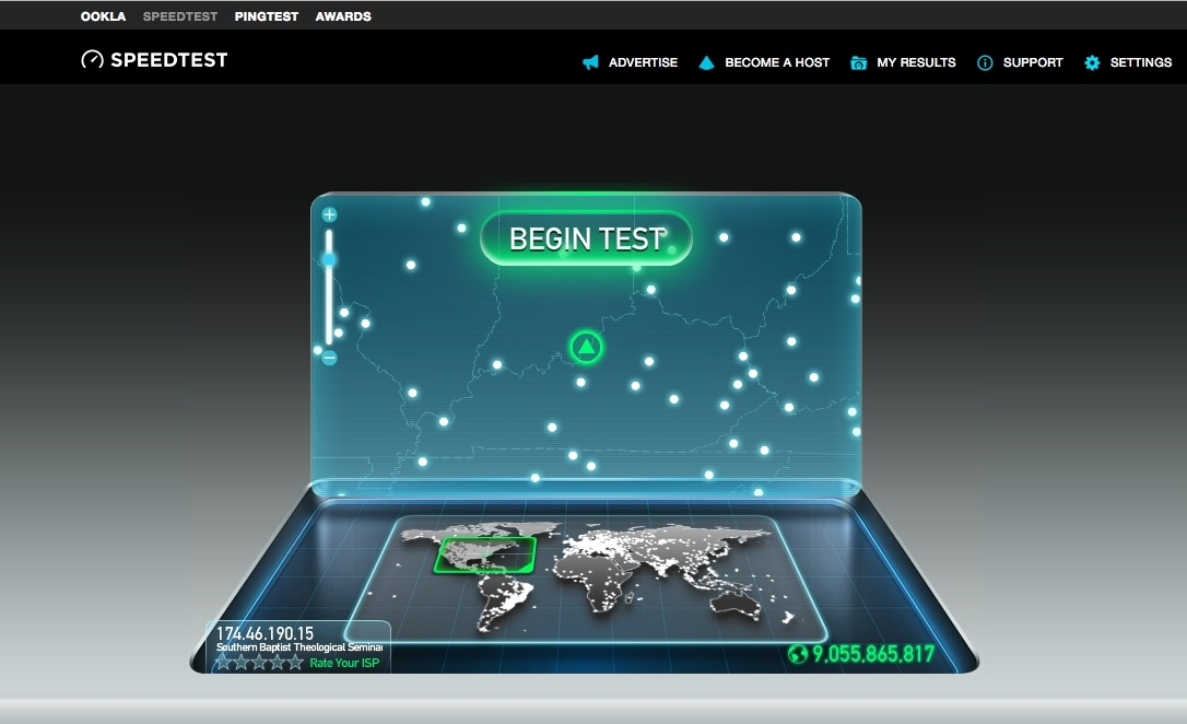 speedtest.net homepage