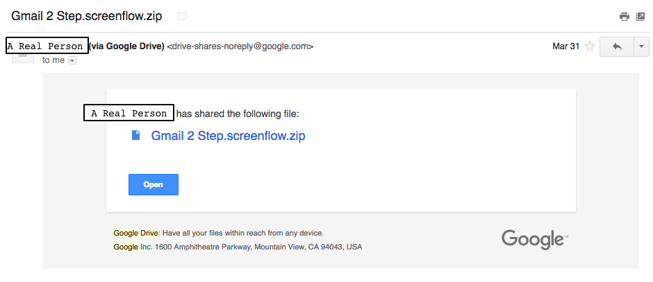 A picture of a Google Drive sharing email